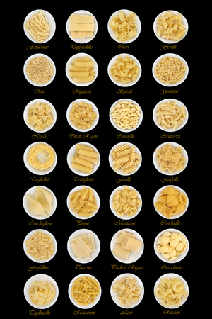 descriptive: Dried pasta food sampler in round porcelain bowls over black background with descriptive titles.