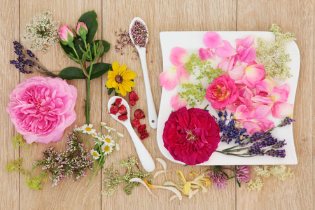 natural selection: Natural herbal medicine flower and herb selection over oak background. Stock Photo
