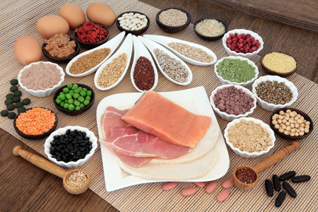 antioxidants: Body building health and super food with high protein meat, fish, eggs, pulses, seeds, nuts, grains, supplement powders, vitamin tablets and fruit.