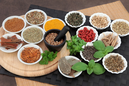 Herb and spice selection for men used in natural alternative herbal medicine.