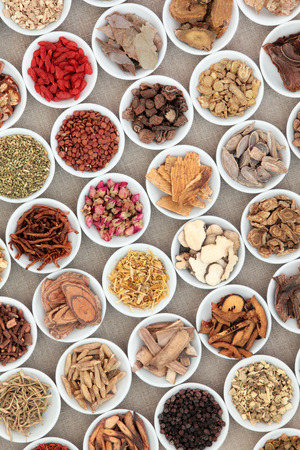 Chinese herb selection used in traditional herbal medicine in white porcelain bowls over hessian background.