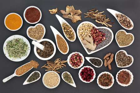 Healing herb selection for women used in natural alternative medicine.