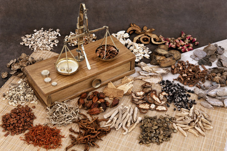 dried herbs: Traditional chinese herbal medicine selection with herb ingredients and old scales. Stock Photo