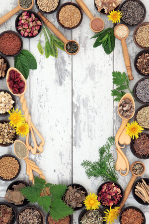 fenugreek: Herbal medicine selection for women forming a background border over distressed wooden background. Stock Photo