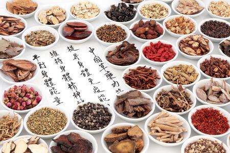 medicina tradicional china: Chinos ingredientes de hierbas medicinales con la caligrafía sobre papel de arroz. La traducción se lee como la medicina herbal china como el aumento de la capacidad del cuerpo para mantener el cuerpo y el espíritu de la salud y el balance energético. Foto de archivo