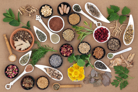 herb medicine: Healing herb and spice selection used in natural alternative medicine for women.