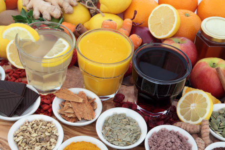 cold cure: Health food, drinks and natural  herbal medicine for cold and flu remedies high in antioxidants and vitamin c.
