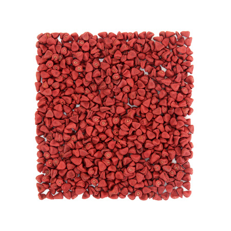 remedial: Annatto seed used in natural alternative herbal medicine and also in the food and cosmetics industry over white background. Achiote. Stock Photo