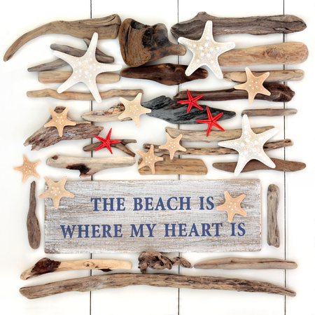 wood sign: The beach is where my heart is sign with starfish sea shells and driftwood selection over white wood background.