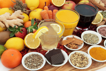 cold cure: Large health food selection with drinks and herbal medicine for cold and flu remedies, high in antioxidants and vitamin c.