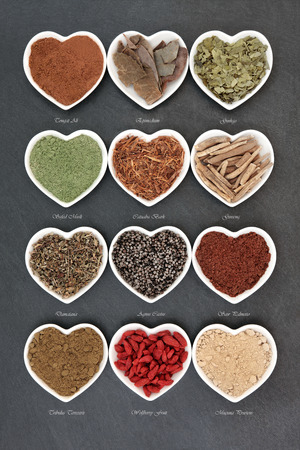 natural selection: Herb selection for mens health used in natural alternative herbal medicine in heart shaped white porcelain dishes over slate background with titles. Stock Photo