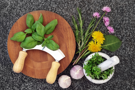 kitchenware: Fresh herb selection with mortar and pestle,  wooden board and chopper with chives, basil, dandelion, rosemary and garlic herbs on marble background. Stock Photo