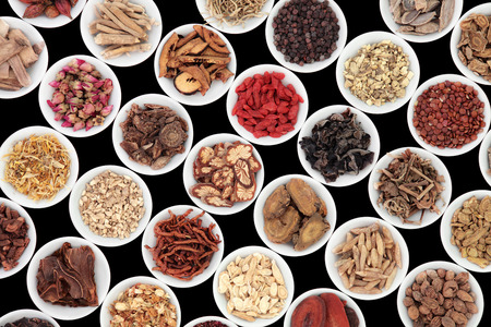 chinese herbal medicine: Chinese herb selection used in traditional alternative herbal medicine in porcelain bowls over black background.