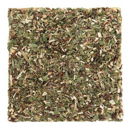 goldenrod: Goldenrod herb leaf used in natural alternative herbal medicine over white background. Solidago.