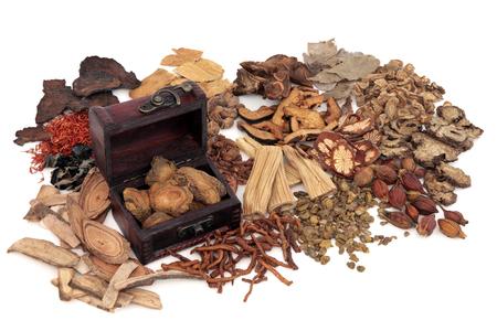 Ingredienti di erbe cinesi usati nella medicina tradizionale a base di erbe con una vecchia scatola su sfondo bianco. Archivio Fotografico - 58560728