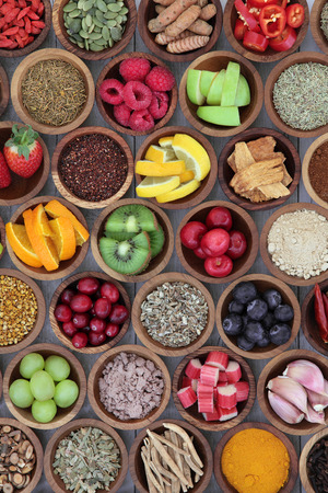 Health food selection for cold remedy to boost immune system, high in antioxidants, anthocyanins, minerals and vitamins.
