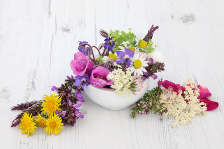 natural selection: Flower and herb selection used in natural herbal medicine over distressed wooden background. Stock Photo