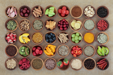 Superfood selection for cold and flu remedy to boost immune system. High in antioxidants, anthocyanins, vitamins and minerals.