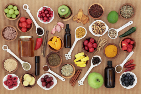 cold remedy: Large food and alternative medicine selection for cold remedy to boost immune system, high in vitamins, antioxidants and minerals