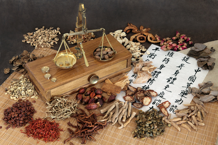 rice paper: Chinese herbal medicine with herb ingredients, scales and calligraphy on rice paper. Translation reads as chinese herbal medicine as increasing the bodys ability to maintain body and spirit health and balance energy.