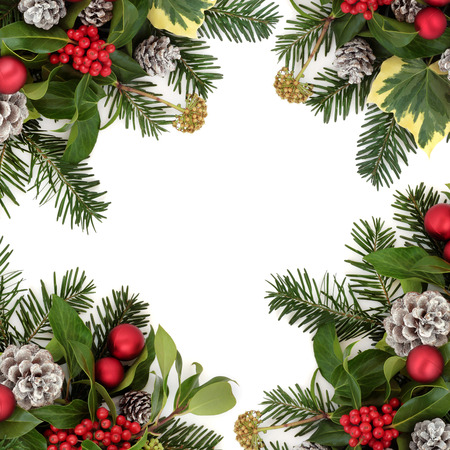 christmas ivy: Christmas background border with red bauble decorations, holly, ivy, snow covered pine cones and fir leaf sprigs over white.