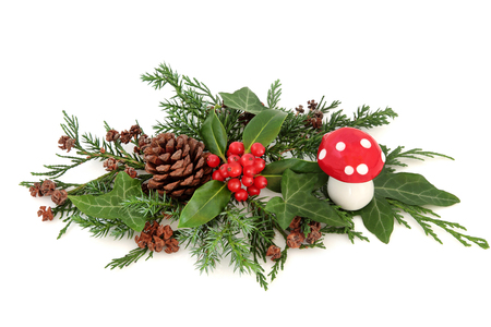 Winter floral decoration with holly, fly agaric mushroom,  pine cones, ivy, cedar cypress and fir over white background.