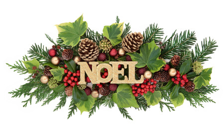 gold christmas decorations: Christmas and winter decoration with noel glitter sign, red and gold bauble decorations, holly, ivy, gold pine cones and fir leaf sprigs over white background. Stock Photo