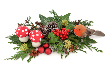 christmastime: Christmas decorative display with robin, red baubles and fly agaric mushroom decorations with holly, ivy, snow covered pine cones and winter greenery over white background.