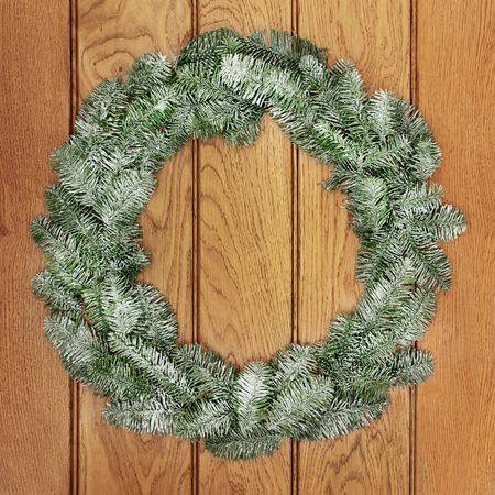 christmastide: Christmas snow covered blue spruce fir wreath decoration on oak front door background.