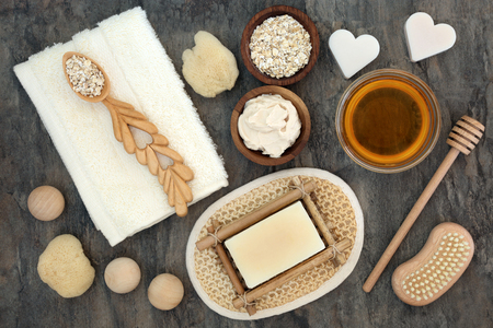 bath supplement: Natural products and ingredients for body and skin health care with oats and honey. Used to soothe skin disorders such as psoriasis and eczema.
