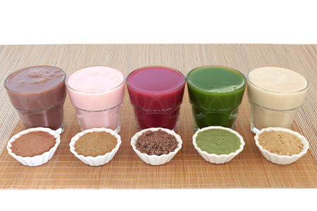 Health food drinks with corresponding  powders of chocolate whey, pomegranate fruit, acai berry, wheatgrass and maca root. Also used by body builders.