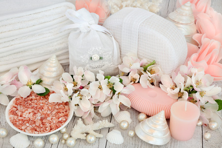 ex: Skin care detox and ex foliating spa beauty treatment with himalayan sea salt, apple blossom flowers, pink rose soap petals, bathroom accessories and shells. Stock Photo