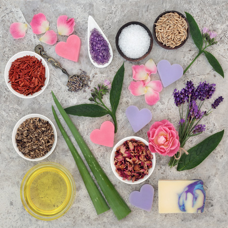 Natural ingredients for skin health care to help heal eczema and psoriasis. Stock Photo