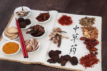 Selezione di erbe cinesi utilizzati in erboristeria con le bacchette su un notebook di canapa con lo script di calligrafia su carta di riso tradotto come erbe cinesi. Archivio Fotografico