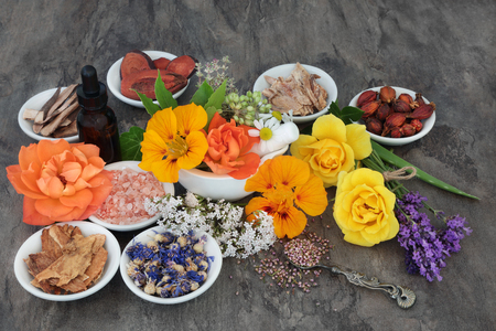 Flower and herb selection used in natural alternative herbal medicine with essential oil bottle and mortar with pestle.