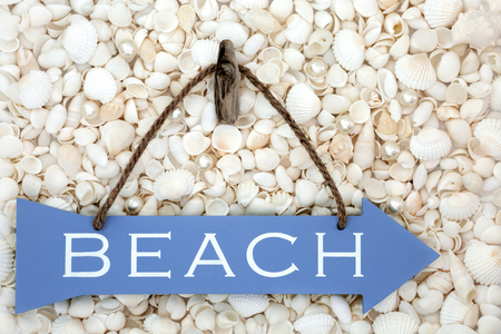 Wooden blue beach sign with pearls and white seashells forming a background.