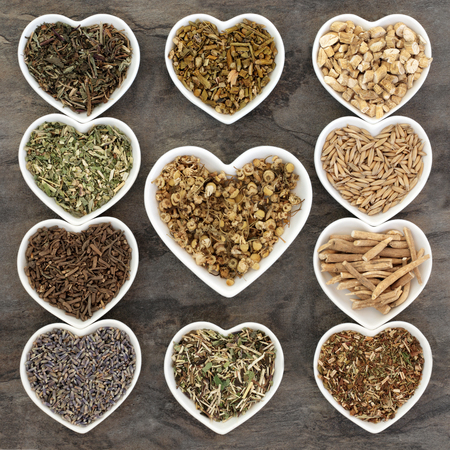 herb medicine: Herb selection used in herbal medicine for anxiety and sleeping disorders in white china heart shaped dishes.