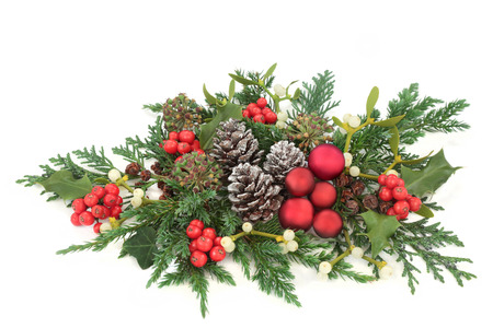 Christmas decorative display red bauble decorations, holly, ivy, mistletoe, cedar and juniper leaf sprigs and pine cones on white background. Stock Photo