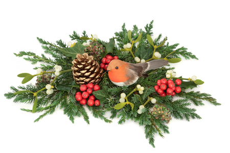 Christmas display with robin decoration, holly, pine cone, mistletoe, cedar cypress and juniper leaf sprigs and ivy on white background. Stock Photo - 87479318