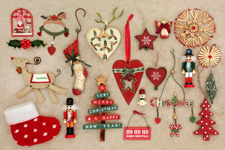 old fashioned christmas decorations on handmade hemp paper background stock photo 88642505