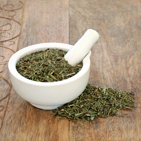 Horsetail leaf herb used in alternative herbal medicine and has anti inflammatory, anti bacterial, diuretic, antiseptic and astringent properties in a mortar with pestle on rustic background. Equisetum arvense.