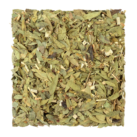 Consitpation and laxative herb mixture used in alternative herbal medicine with senna leaf, fennel, elder and lime flowers on white background.