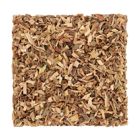 White willow bark herb used in alternative herbal medicine and has pain relieving and anti inflammatory properties and is similar to aspirin in its effects, on white background. Salix alba. Stock Photo