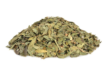 Constipation and laxative herb mixture used in alternative herbal medicine with senna leaf, fennel, elder and lime flowers on white background. Stock Photo