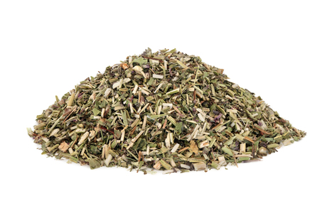 Wood betony herb used in alternative herbal medicine to treat migraines, anxiety, sleeping disorders and toothache and has many other uses to improve health conditions, on white background. Stachy officinalis.