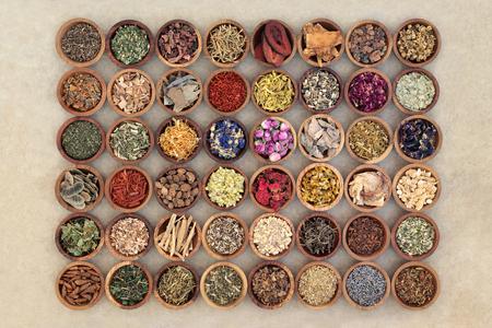 Medicina alternativa naturale a base di erbe con erbe secche e fiori in ciotole di legno su sfondo di carta di canapa. Vista dall'alto.