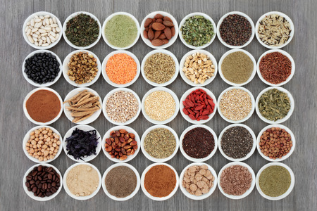 Dried diet health food with supplement powders, legumes, nuts, seeds, grains, cereals, vegetables, fruit, and herbs with some being used as appetite suppressants. Stock fotó