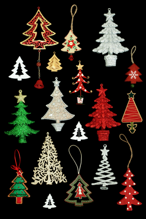 Christmas tree retro and new bauble decorations for the festive season on black background. Top view. Stock Photo