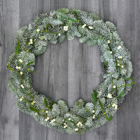 Winter and christmas wreath with mistletoe and snow covered spruce pine fir on rustic grey wood.