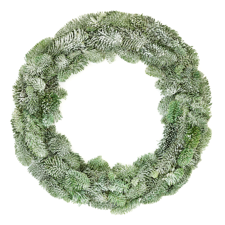 Spruce fir winter wreath with snow isolated on white background. Stock Photo - 109819546